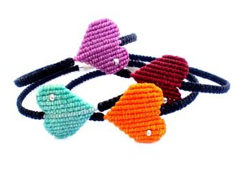 Bracelets macrame. Heart bracelets. Boho bracelets. Macrame jewellery. Party favors.