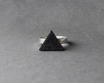 Wooden Triangle Ring (Black Glitter) - Modern Handmade Jewellery