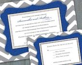 bridal shower invitations, wedding invitations, cobalt and gray chevron wedding invitations, gray chevron bridal shower invitations, IN266