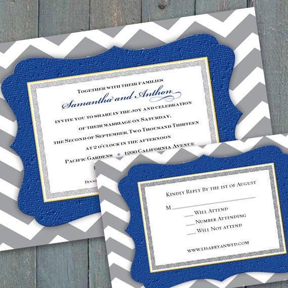 bridal shower invitations, wedding invitations, cobalt and gray chevron wedding invitations, gray chevron bridal shower invitations, IN266