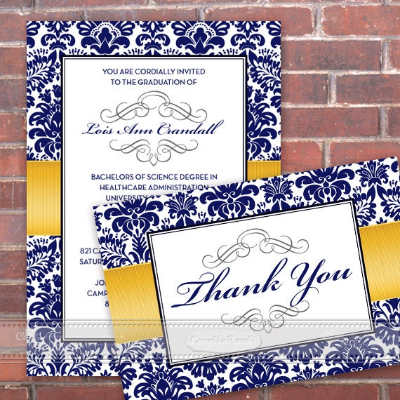 graduation invitations, blue and yellow graduation invitations, wedding invitations, University of Michigan graduation invitations, IN351
