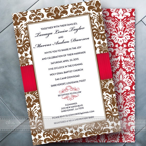 wedding invitations, bridal shower invitations, chocolate damask and cherry red double sided wedding invitations, red bride, IN352