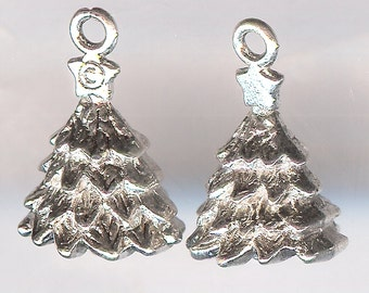50% Off! CHRISTMAS TREE Charm. Silver Plated Zinc Alloy. 3D.