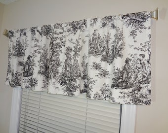 SALE Curtain Valance Topper Window Valance 52x15 Large Print Black/White Jamestown Toile Print Valance