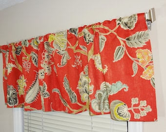 Curtain Valance Topper Window Valance 52x15 Waverly Asian Myth Red Floral Valance