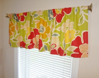 SALE Richloom KAS Curtain Valance Topper Window Treatment 52x15 Lime Coral Gold Yellow Blue Floral Window Valance