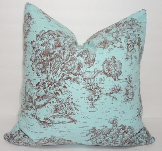 OVERSTOCK SALE Brown Blue Toile Pillow Cover Baby Girl Boy