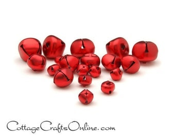 Red Jingle Bells, Assorted Sizes, 19 Pieces, Darice Craft - Christmas, Valentine Craft Supply / Decor / Embellishment