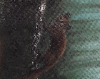 Original painting Fisher Cat in Tree on Green