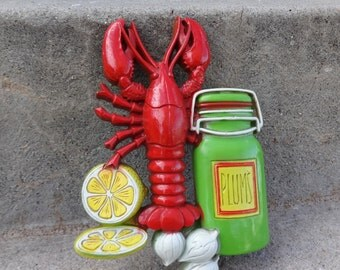 Adorable Lobster Lemon Plums Wall Plaque Red Orange Green Yellow White Vintage Wall Plaque