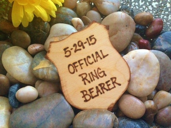 Gift for Ring Bearer Police Style Badge Official Ring Bearer Honor Cop Pin Rustic Wedding Decoration