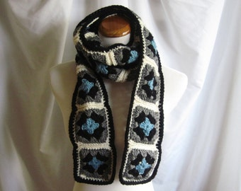 Granny Square Scarf Crochet - Gray, Blue and Blue
