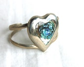 SALE Heart Cuff Bracelet Mexican Abalone and Alpaca Vintage Jewelry Small