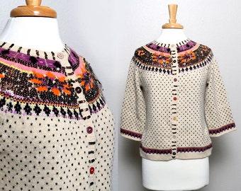 Vintage 90s Sequin Cardigan / Boho / Rustic / Boston Proper
