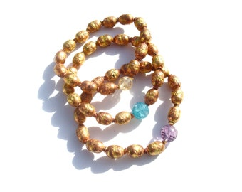shiny copper mala bracets with citrine, amethyst, or agate. your choice.