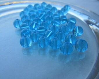 Czech Preciosa Aqua Transparent Glass 8mm Beads 50Pcs.