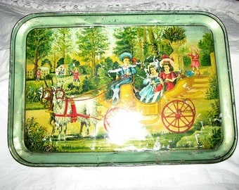 Victorian Tin Tray , 1890's Children , In A Goat Cart , Antique Lithograph.