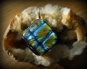 Fused Glass Pendant with Blue, Gold and Turquoise Dichroic Glass in Criss-Cross Design