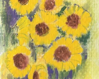 ACEO Sunflowers - original watercolor painting