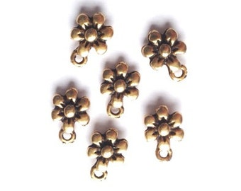 DOLLAR DEAL, Bargain Beads, Clearance, Sale, Antique Gold Daisy Flower Charm-6 pieces