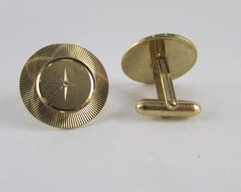 Vintage Swank Gold Electroplate Diamond Cut Starburst Cuff Links, Vintage Men's Jewelry, Vintage Men's Accessories