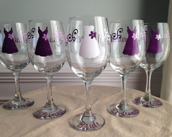 9 Personalized Bride and Bridesmaid Wine Glasses