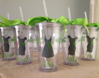 7 Personalized Bride, Bridesmaid, Flower Girl  Acrylic Tumblers with Lid and Straw (BPA-free)