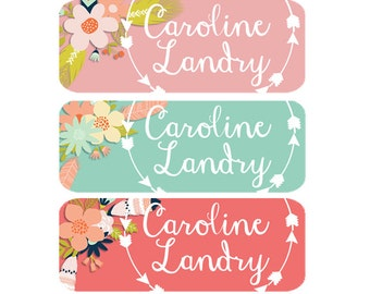 School Labels, School Name Labels, Waterproof School Labels, Dishwasher Safe, Personalized School Labels, School Labels, Girl, Tribal Arrows