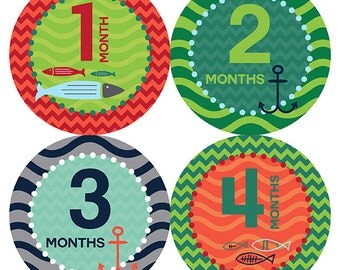 FREE GIFT, Nautical Monthly Baby Sticker, Baby Boy, Nautical Baby Month Stickers, Nautical, Anchor, Fish, Chevron, Beach Sea, Belly to Baby
