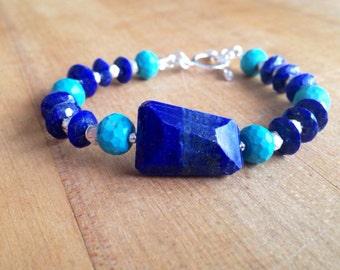 Lapis and Turquoise Bracelet - Lapis Jewelry - Sterling Silver Jewelry - Lapis Lazuli -Gemstone - Beaded