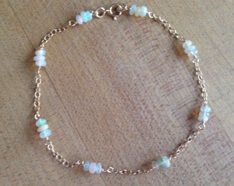 Opal Bracelet - Ethiopian Opal Jewelry - Gold Filled - October Birthstone - Chain