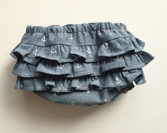 Chambray & Anchor Ruffle Bloomer Diaper Cover