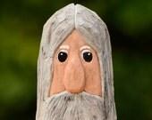 Troll Cottonwood Bark Relief Carving, Lake Erie Beach Troll, Fantasy, Made in Ohio,  Gnome, Rustic, Folk Art, Found Wood, Birthday Gift