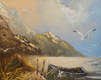 Vintage Original Framed Acrylic Painting-Nautical Seaside Seascape Seagulls Boat Skiff  Mountains Ocean