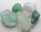 6 chunky green seafoam & white sea glass - Lovely English beach find pieces