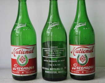 Instant Collection of Vintage Green Glass National Beverage Soda Bottles