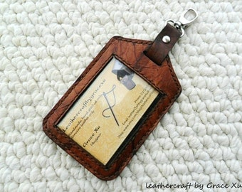 100% hand stitched handmade brown marbled pattern cowhide leather ID holder