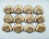 Rustic Handmade Sycamore Wood Buttons. 1 3/4 inch 44 mm x 12 buttons