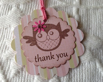 Set of 12  Pink Striped Baby Girl Owl Thank You Tags - Favor Gift Tags - Party Tags