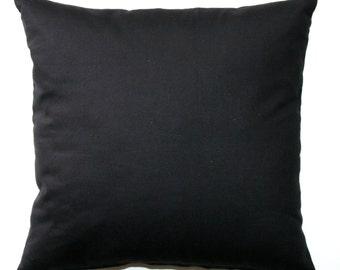 Solid Throw Pillows, Solid Black Pillow Cover, Zippered Pillow, Pillow Case, Plain Pillow, Cushion Cover, Neutral Decor, Bed Pillows, Sofa