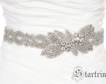 SALE Wedding crystal sash , crystal belt , bridal sash , bridal belt , rhinestone sash
