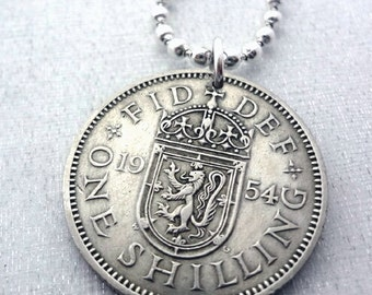 Coin Jewelry. Vintage 1957 SCOTTISH SHILLING coin necklace. Scottish Arms. lion necklace. 1962 1963 Scottish necklace. Scotland. mens gift