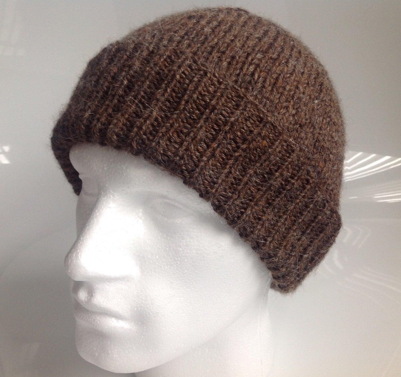 Alpaca Aran Knitting Pattern : Mens Brown Aran with Alpaca Beanie Hat Hand Knitted in