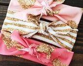 Pink and Gold Glitter Knotted Headband Set of 3 // Organic Cotton Knotted Headband