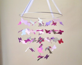 The  Small Purple Unicon Butterfly Mobile / / / Nursery Decor, Photo Prop, Baby Shower Gift, Crib Mobile.