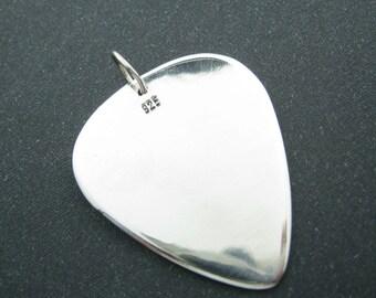 925 Silver Guitar Pick Pendants Necklace