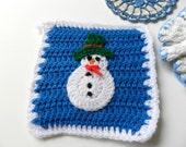 Vintage handmade crochet blue and white cream snowman doilies hotpads set of 3