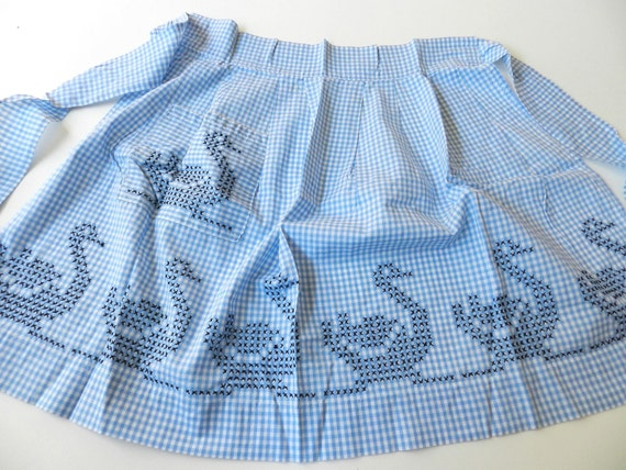 AUCTION BNR Not for sale Vintage Blue and White Gingham Apron with Cross Stitched Swans Ducks Geese