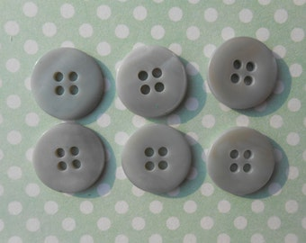 Buttons - Grey - Mother of Pearl - 6pcs
