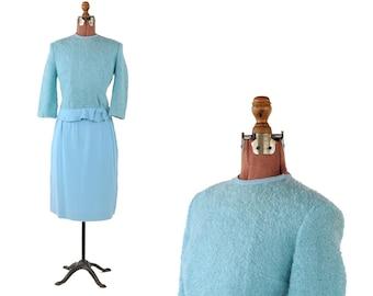 Vintage 1960's Sky Blue Fuzzy Kitten Bow Mod Shift Two Piece Preppy Dress S